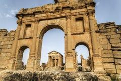 Tunisia Sbeitla. Roman city ruins temples Royalty Free Stock Image
