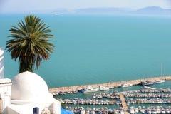 Tunisia. Sidi Bou Said. Tunisian sea. Sidi Bou Said - typical building with white walls, blue doors and windows Stock Photography