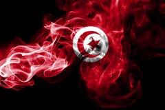 Tunisia smoke flag. Isolated on a black background royalty free stock images