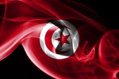 Tunisia smoke flag. Isolated on a black background stock photos