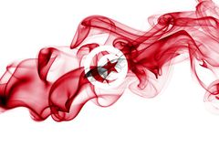 Tunisia smoke flag. Isolated on a white background stock photography