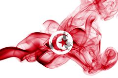 Tunisia smoke flag. Isolated on a white background royalty free stock photos
