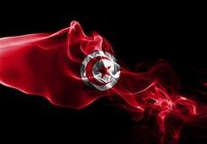 Tunisia smoke flag. Isolated on a black background stock images