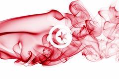 Tunisia smoke flag. Isolated on a white background royalty free stock image