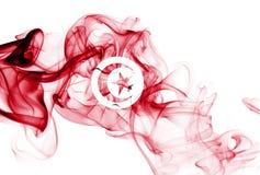 Tunisia smoke flag. Isolated on a white background royalty free stock photo