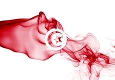 Tunisia smoke flag. Isolated on a white background stock image