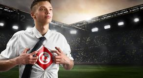 Tunisia soccer or football supporter showing flag royalty free stock photography