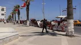 Tunisia, Sousse. JULY 9, 2010: Street in Sousse, Tunisia, July 9, 2010 stock footage