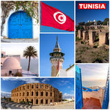 Tunisia touristic landmarks photo mosaic Royalty Free Stock Images