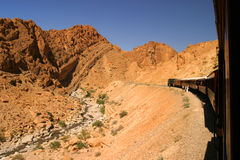 Tunisia train atlas mountains desert hot. Holiday tourist dusty warm bleak Royalty Free Stock Photo