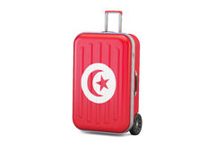 Tunisia travel concept, suitcase with Tunis flag. 3D rendering. Tunisia travel concept, suitcase with Tunis flag Royalty Free Stock Photos