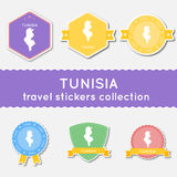 Tunisia travel stickers collection. Stock Photos