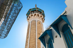 Tunisia. Tunis, the Sidi Youssef mosque's octagonal shaped minaret Stock Photo