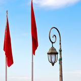 Tunisia  waving flag in the blue sky  colour and street lamp Stock Photo