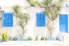 Tunisian architecture Tunisia Africa Sidi Bou Said Stock Photo