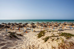 Tunisian beach in luxury hotel Royalty Free Stock Images