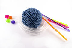 Tunisian crochet hook. And juggling ball isolated on white background Stock Photography