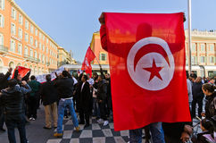 Tunisian demonrstrators in Nice, France Royalty Free Stock Images