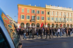 Tunisian demonrstrators in Nice, France Royalty Free Stock Photography