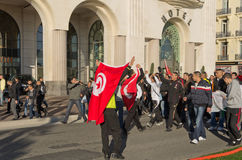 Tunisian demonrstrators in Nice, France Stock Image