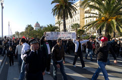 Tunisian demonrstrators in Nice, France Stock Photography