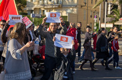 Tunisian demonrstrators in Nice, France Stock Images