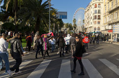 Tunisian demonrstrators in Nice, France Stock Photos