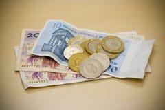 Tunisian Dinars. Coins and bills Stock Photo
