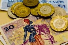 Tunisian Dinars. Coins and bills Royalty Free Stock Photography