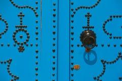 Tunisian door. Decorative door in Sidi Bou Said, Tunisia Stock Photos