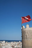 Tunisian flag. Old town in Tunesia, Africa Stock Images