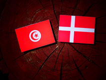 Tunisian flag with Danish flag on a tree stump isolated. Tunisian flag with Danish flag on a tree stump royalty free stock photo