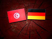 Tunisian flag with German flag on a tree stump royalty free stock photography