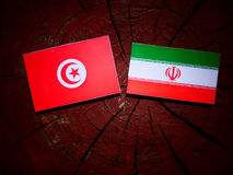 Tunisian flag with Iranian flag on a tree stump isolated. Tunisian flag with Iranian flag on a tree stump stock images