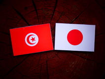 Tunisian flag with Japanese flag on a tree stump isolated. Tunisian flag with Japanese flag on a tree stump stock images