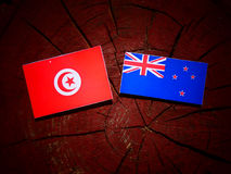 Tunisian flag with New Zealand flag on a tree stump isolated. Tunisian flag with New Zealand flag on a tree stump stock photography