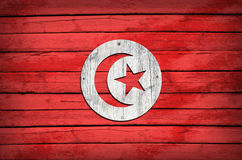 Tunisian flag painted on wooden boards Stock Image