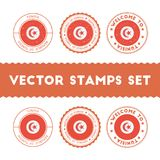 Tunisian flag rubber stamps set. Stock Photography