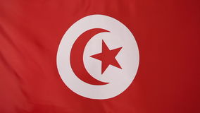 Tunisian flag in slow motion. Textile tunisian flag in a slow motion stock footage
