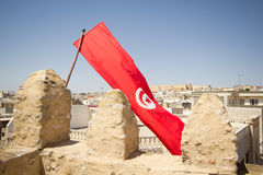 Tunisian flag in Sousse Stock Photography