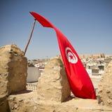 Tunisian flag in Sousse Royalty Free Stock Photos