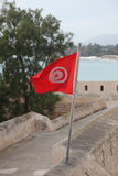 Tunisian flag. Waving in the wind royalty free stock images