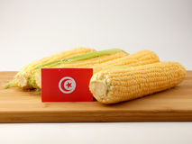 Tunisian flag on a wooden panel with corn isolated on a white ba. Ckground stock image