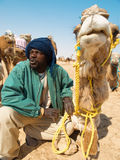 Tunisian man with camel Royalty Free Stock Images