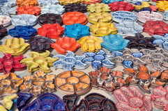 Tunisian pottery. Gathering of tunisian pottery standing on the ground Stock Images