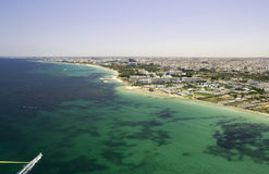 Tunisian shoreline - view from parachute. The shoreline from the city of Sousee, Tunisia, viewed from a parachute pulled by a boat Royalty Free Stock Photos