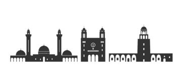 Tunisien logo Isolerad Tunisien arkitektur p? vit bakgrund stock illustrationer