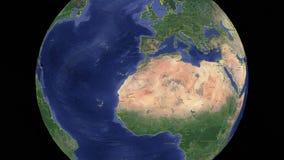 Tunisien med flaggan jord 3d i utrymme vektor illustrationer