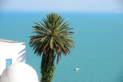 Tunisien. Sidi Bou Said arkivfoton