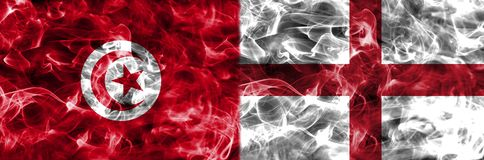 Tunisien vs England rökflagga, gruppG, fotbollvärldscup 2018, Royaltyfri Foto